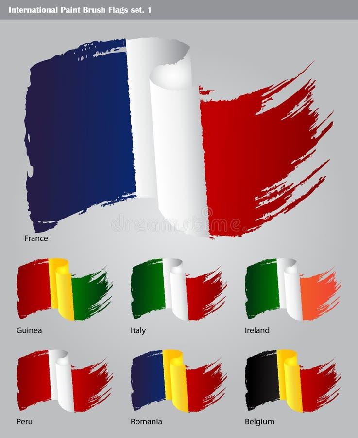 Vector International Paint Brush Flags Stock Photography
