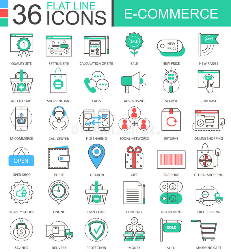 Vector internet E-commerce modern color flat line outline icons for apps and web design. Vector internet E-commerce modern color flat line outline icons for vector illustration