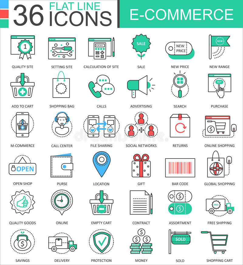 Vector internet E-commerce modern color flat line outline icons for apps and web design. Vector internet E-commerce modern color flat line outline icons for royalty free illustration