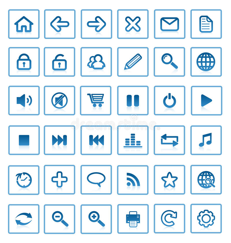 Vector internet icons. Collection of internet icons and buttons. Good for browser, mediasoftware, website and etc royalty free illustration