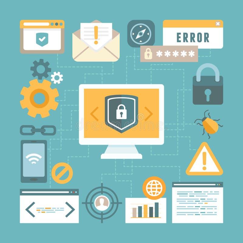 Vector Internet und Informationssicherheitskonzept in der flachen Art lizenzfreie abbildung