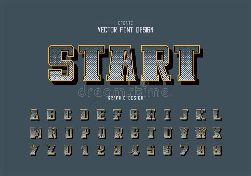 Vector intrépido cuadrado de semitono de la fuente y del alfabeto, escritura y diseño del número, fondo gráfico de Digitaces del  ilustración del vector