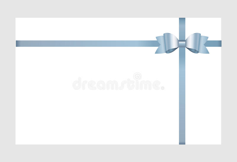 Vector Invitation card with blue holiday ribbon and bow. vector illustration