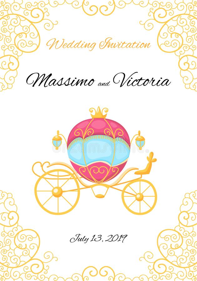 Vector invitation card. Gold design with royal carriage and vintage curls. Save the date. stock illustration