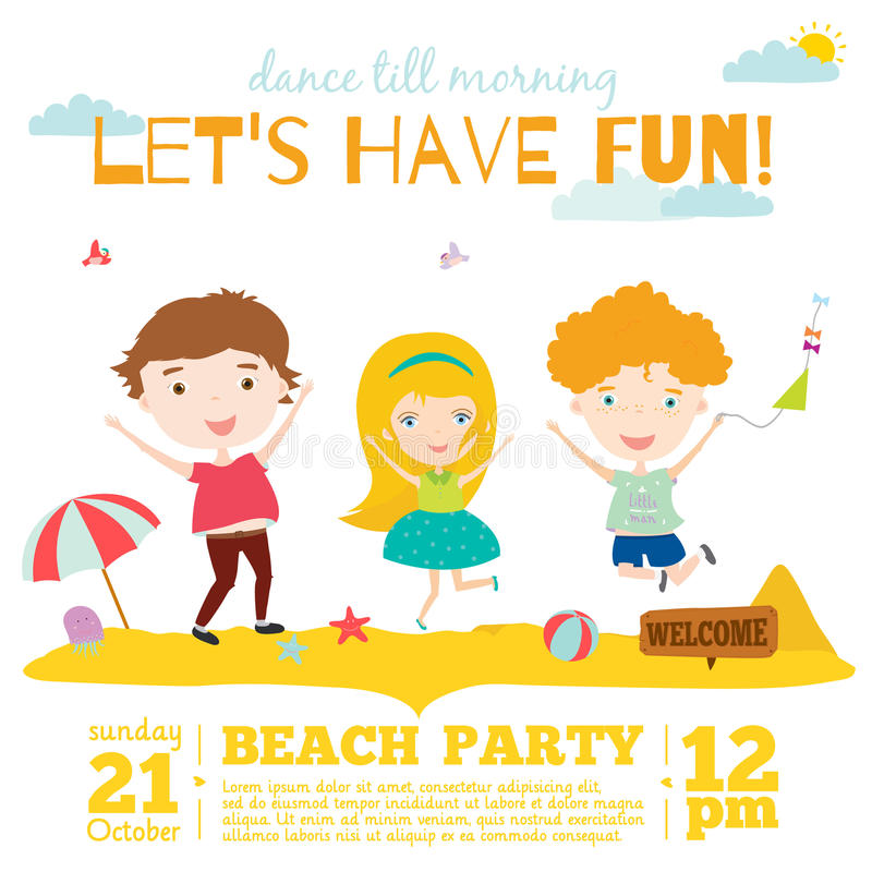 Vector Invitation Card On Summer Beach Party With Stock Vector ...