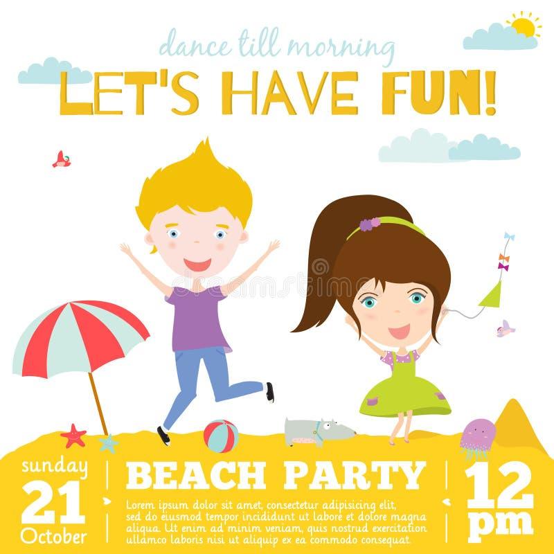 Vector Invitation Card On Summer Beach Party With Vector – Spring or Summer Theme Invitation Cards