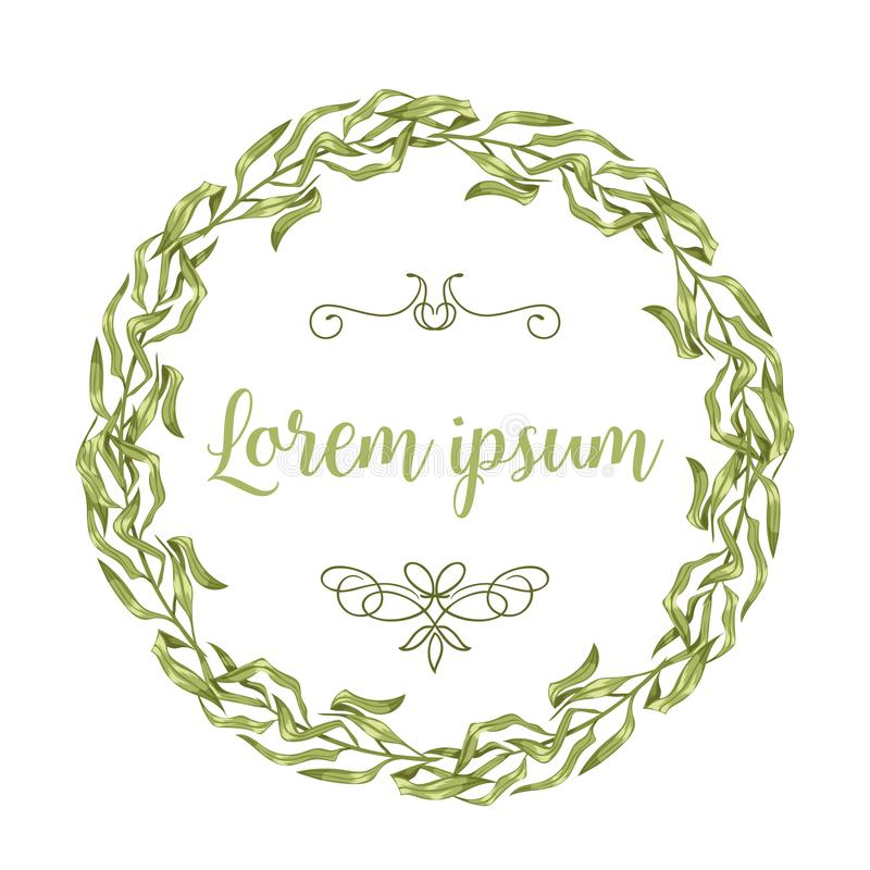 Vector invitation cards with herbal twigs and branches wreath and corners border frames. stock illustration