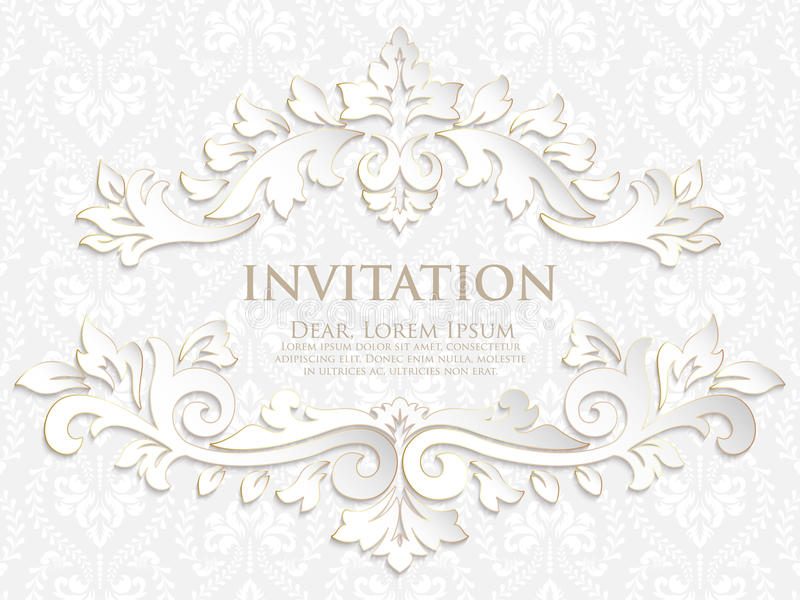 Vector Invitation, Cards Or Wedding Card With Damask Background ...