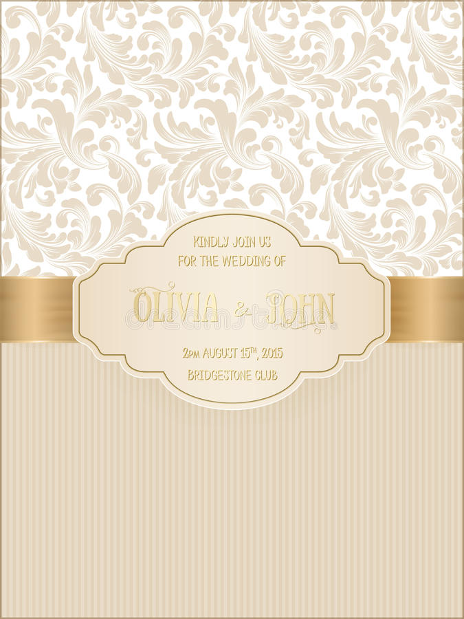 Vector invitation, cards or wedding card with damask background and elegant floral elements. stock illustration