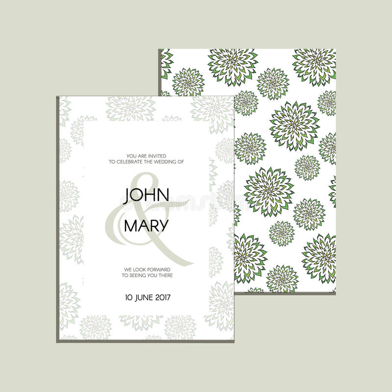 Vector invitation with handmade floral elements. Modern Wedding collection. Thank you card, save the date cards, menu, flyer, bann royalty free illustration