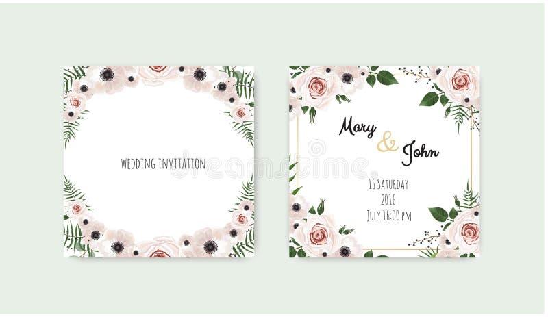Vector invitation with handmade floral elements. Wedding invitation cards with floral elements.  stock illustration