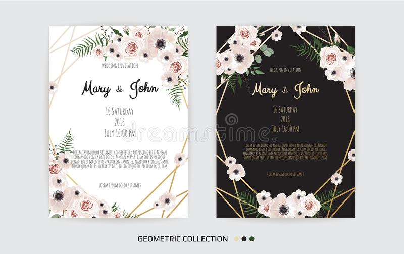 Vector invitation with handmade floral elements. Wedding invitation cards with floral elements stock illustration