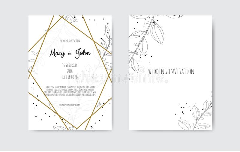 Vector invitation with handmade floral elements. Wedding invitation cards with floral elements royalty free illustration