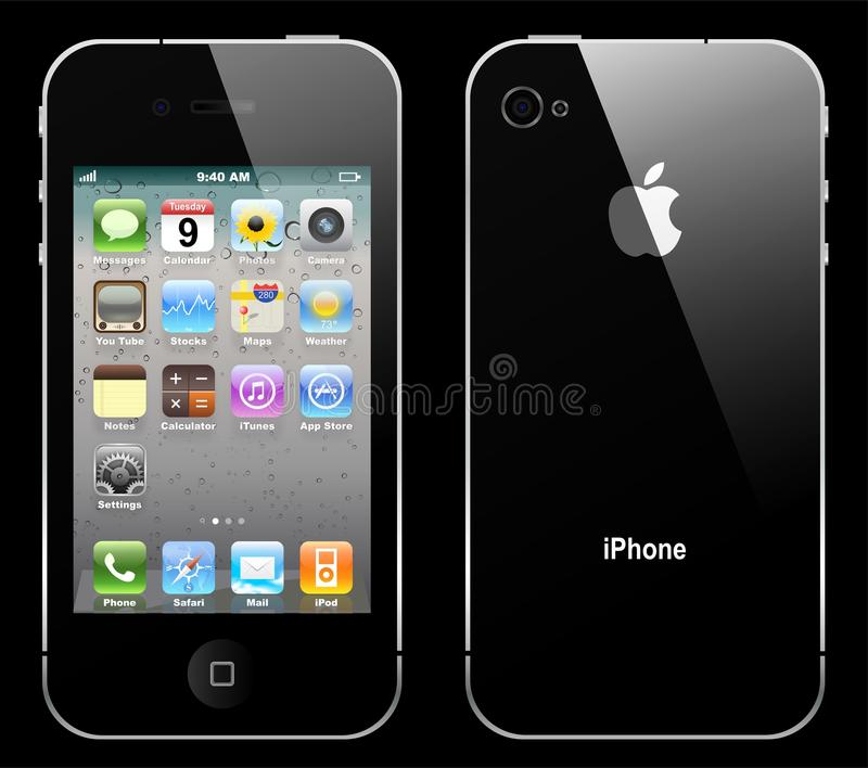 Vector iphone 4. The latest generation iphone 4, highly popular around the world vector illustration