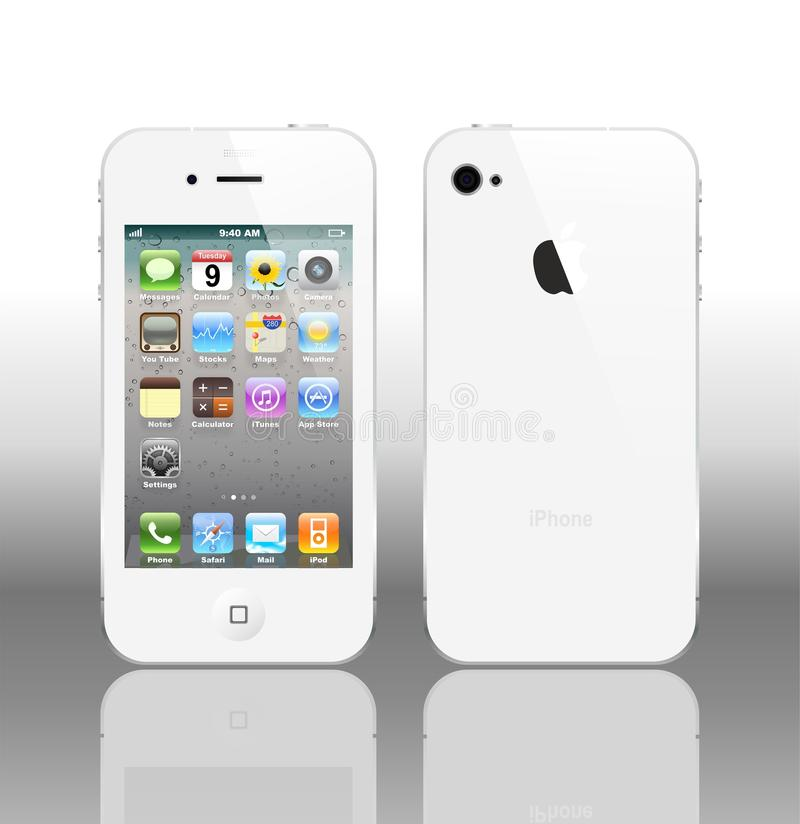 Vector Iphone 4 white. The latest generation iPhone, highly popular around the world. White iPhone 4 most anticipated in the world in 2011 royalty free illustration