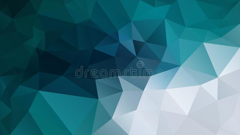 Vector irregular polygon background - triangle low poly pattern - blue green teal turquoise grey white color stock illustration