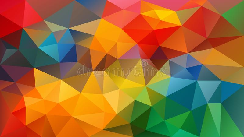 Vector irregular polygon background - triangle low poly pattern - full spectrum multi color rainbow royalty free illustration