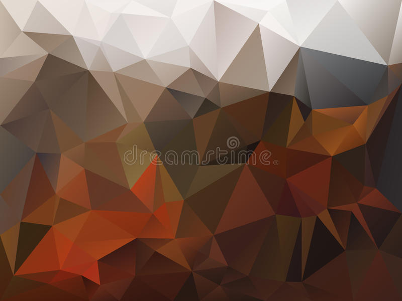 Vector irregular polygon background with a triangle pattern in autumn brown, orange, beige and gray color stock illustration