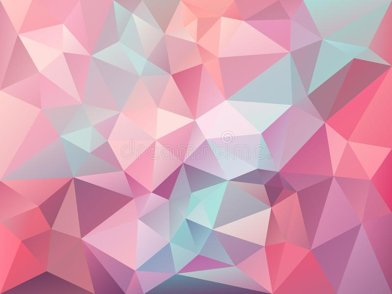 Vector irregular polygon background with a triangle pattern in baby pink, blue, purple color stock illustration