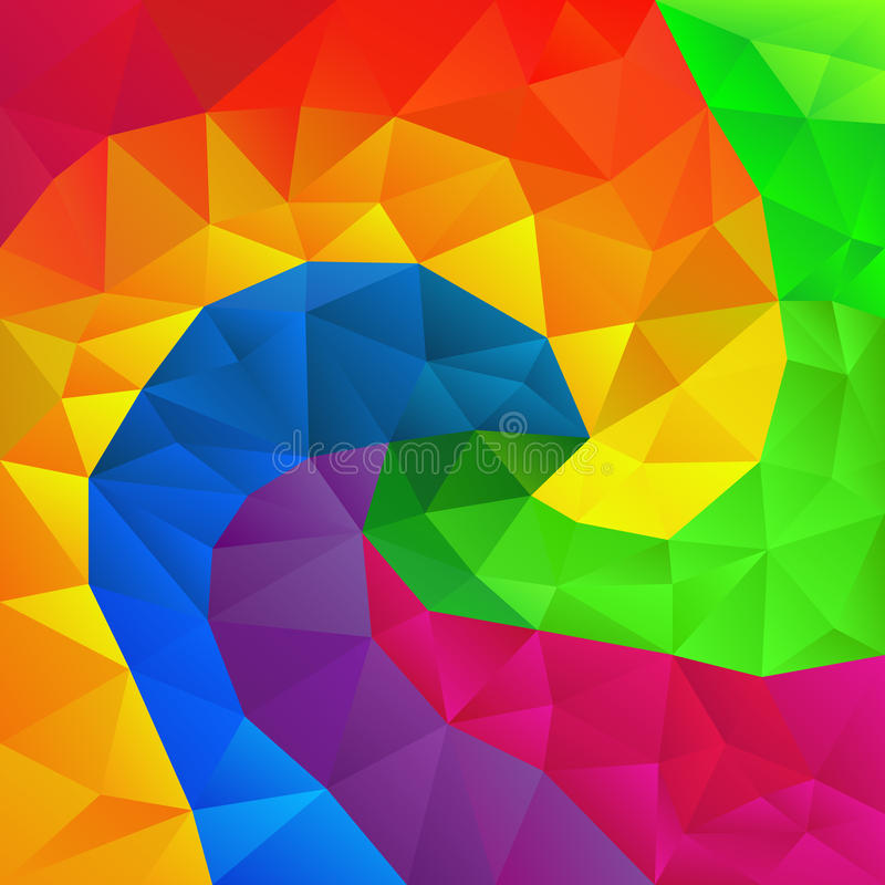 Vector irregular polygon background with a triangle pattern in full color spectrum rainbow spiral royalty free illustration