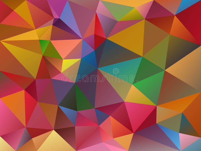 Vector irregular polygon variegated background with a triangle pattern in full color spectrum royalty free illustration