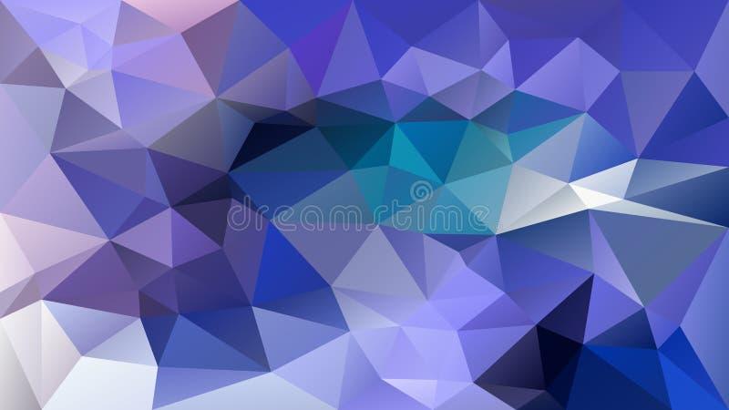 Vector irregular polygonal background - triangle low poly pattern - bright neon blue cyan purple violet color. Vector abstract irregular polygonal background royalty free illustration