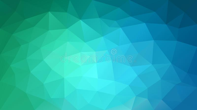 Vector irregular polygonal background - triangle low poly pattern - green, cyan and blue color gradient. Vector abstract irregular polygonal background stock illustration