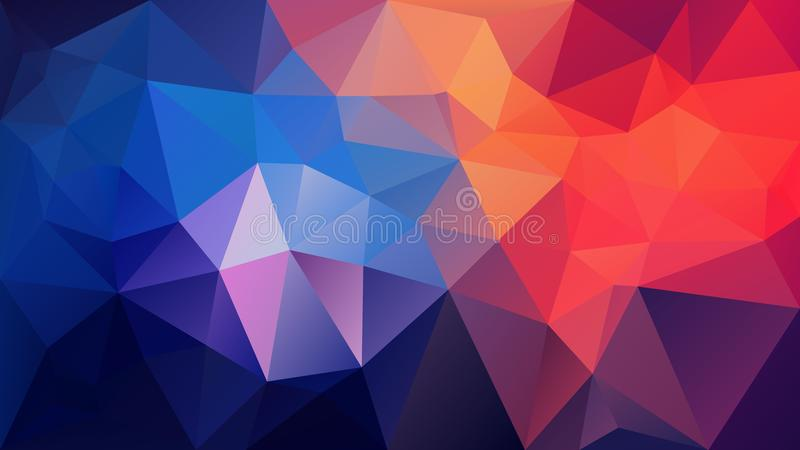 Vector irregular polygonal background - triangle low poly pattern - vivid royal blue, orange, purple and pink aurora colo. Vector abstract irregular polygonal stock illustration