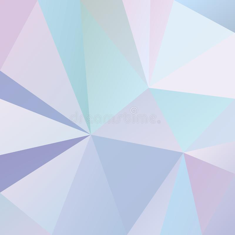 Vector irregular polygonal square background - triangle low poly pattern - cool light blue, pink, purple and violet color stock illustration