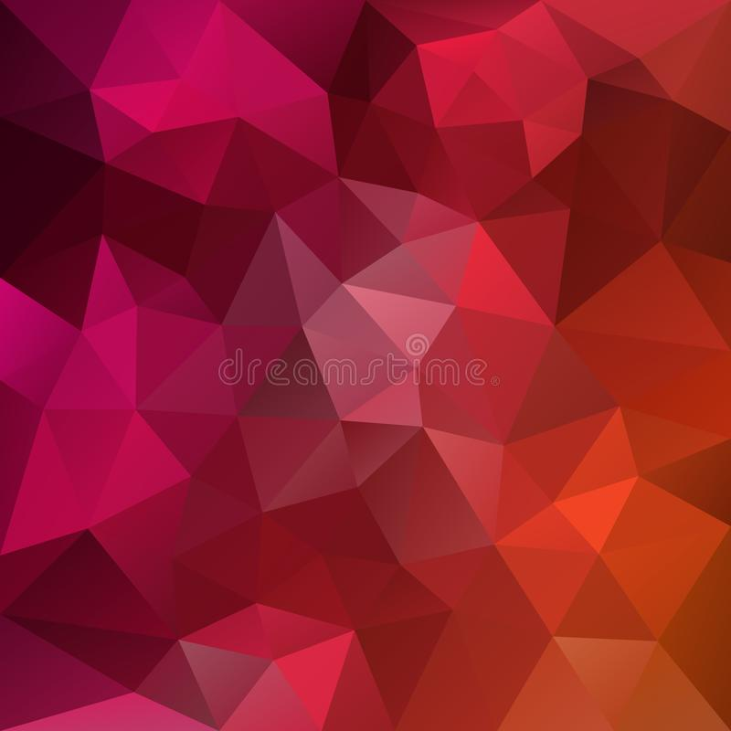 Vector irregular polygonal square background - triangle low poly pattern - hot pink, red and orange color gradient royalty free illustration