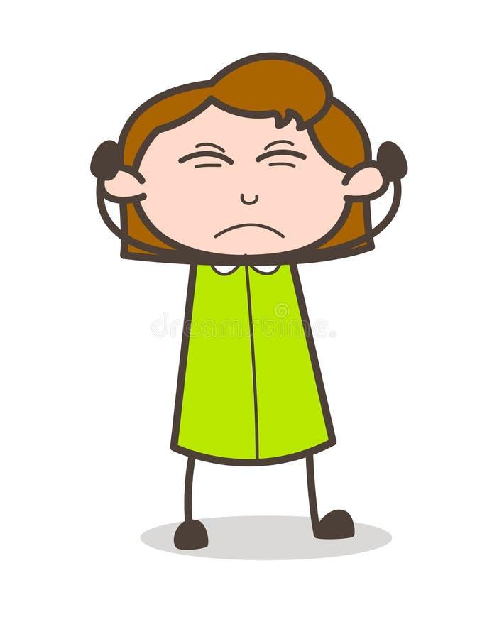 Vector irritado de la expresión de la cara de la muchacha de la historieta libre illustration