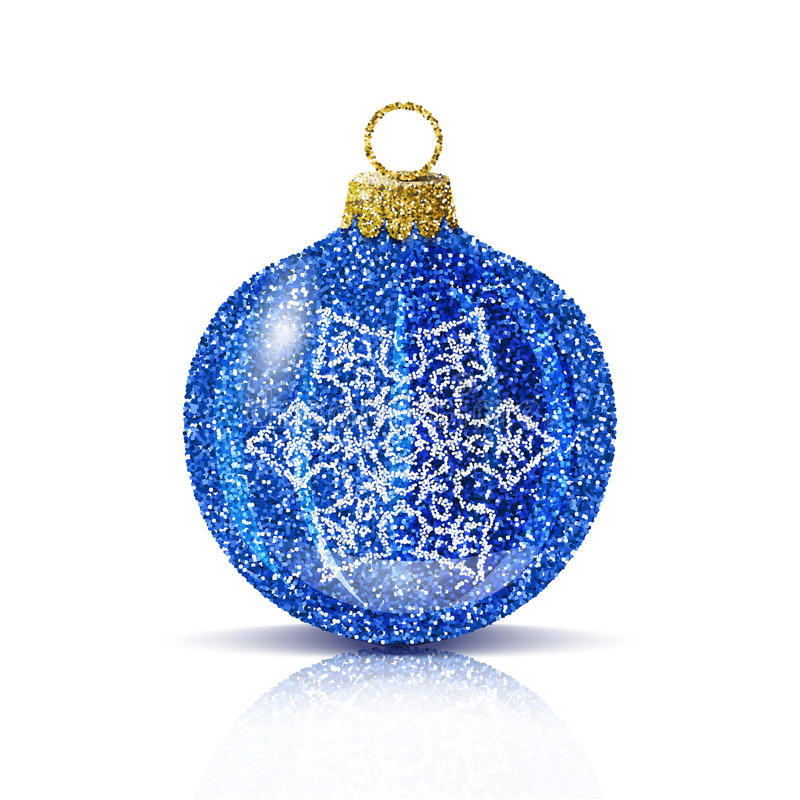 Vector isolated blue christmas ball with silver snowflake. Isolated blue christmas ball with silver snowflake. Glitter sequins texture. Realistic decoration for vector illustration