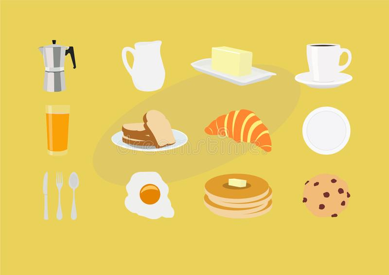 Vector Isolated Breakfast Themed Icon Set royalty free illustration