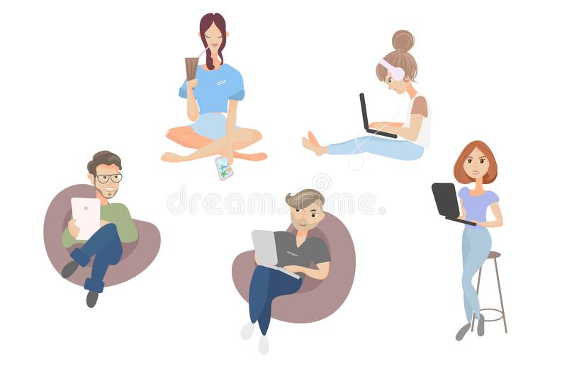 Vector isolated cartoon young creative co working people, Freelancers students. flat style. Trendy cartoon young creative co working people, vector illustration stock illustration