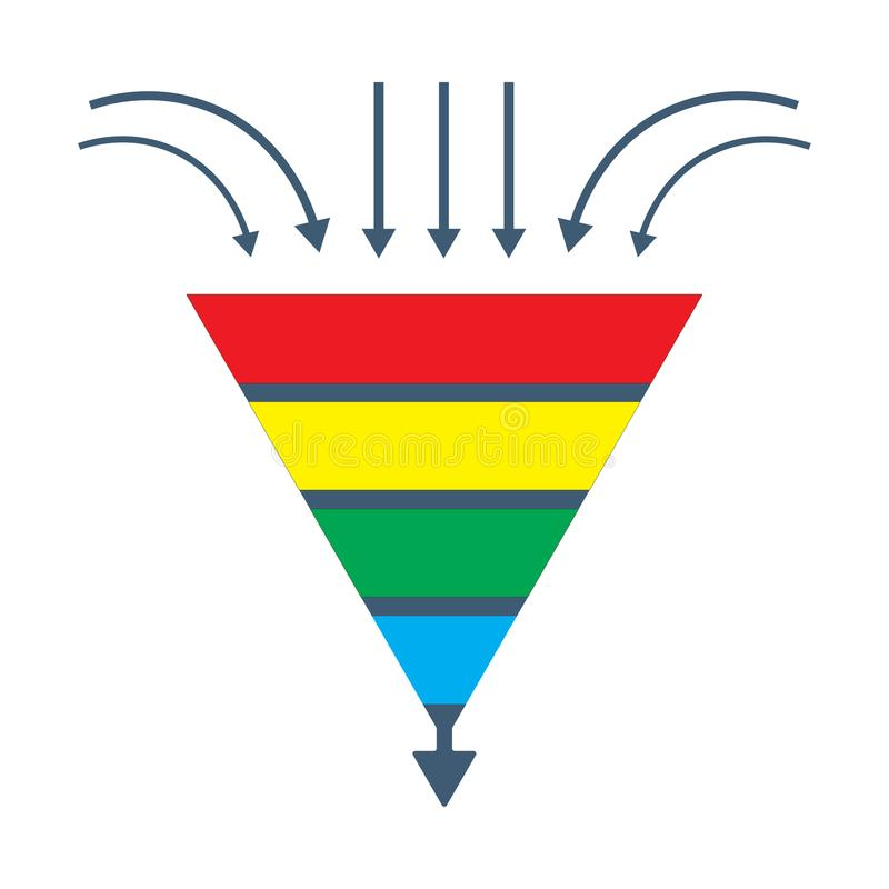Vector isolated diagram: a conversion lead funnel or sales generation graphic. Could be used as Prospects funnel template, Merchandising performance or stock illustration