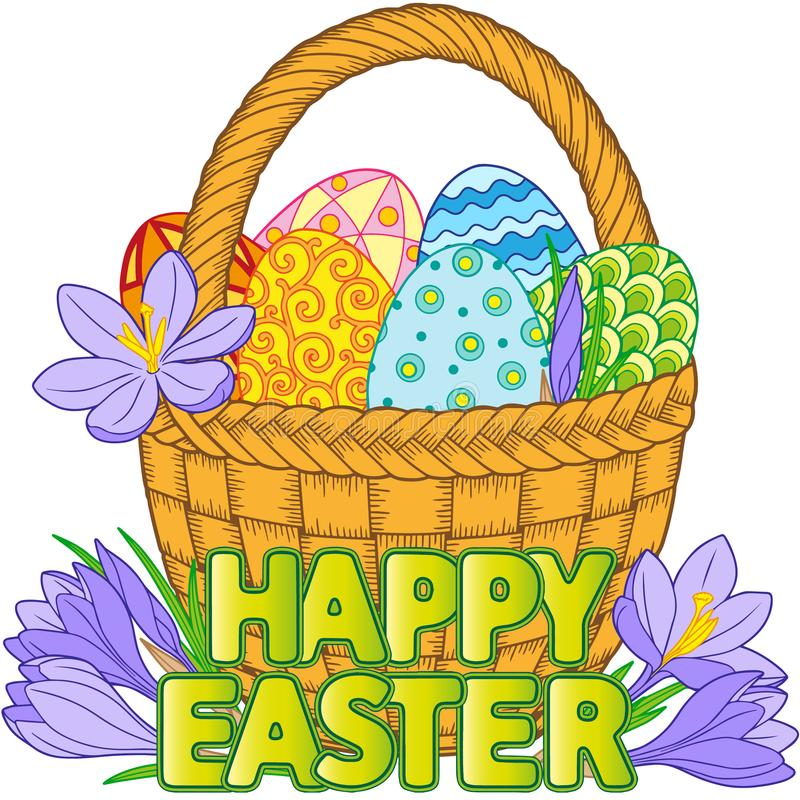 Happy Easter. Vector isolated elements. Card of crocuses and Bright easter eggs in the basket isolated on white background. Vector royalty free illustration