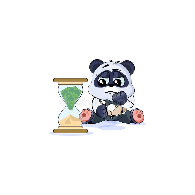 Sad panda bear in business suit sits at hourglass royalty free illustration