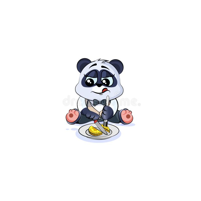 Panda bear in business suit shares coin money royalty free illustration
