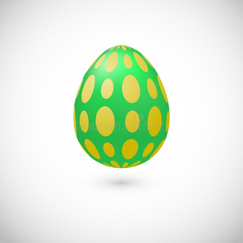 Vector isolated green Easter egg icon with polka dot. Vector green egg with shadow for Easter day greeting card. Realistic color with polka dot decor egg vector illustration