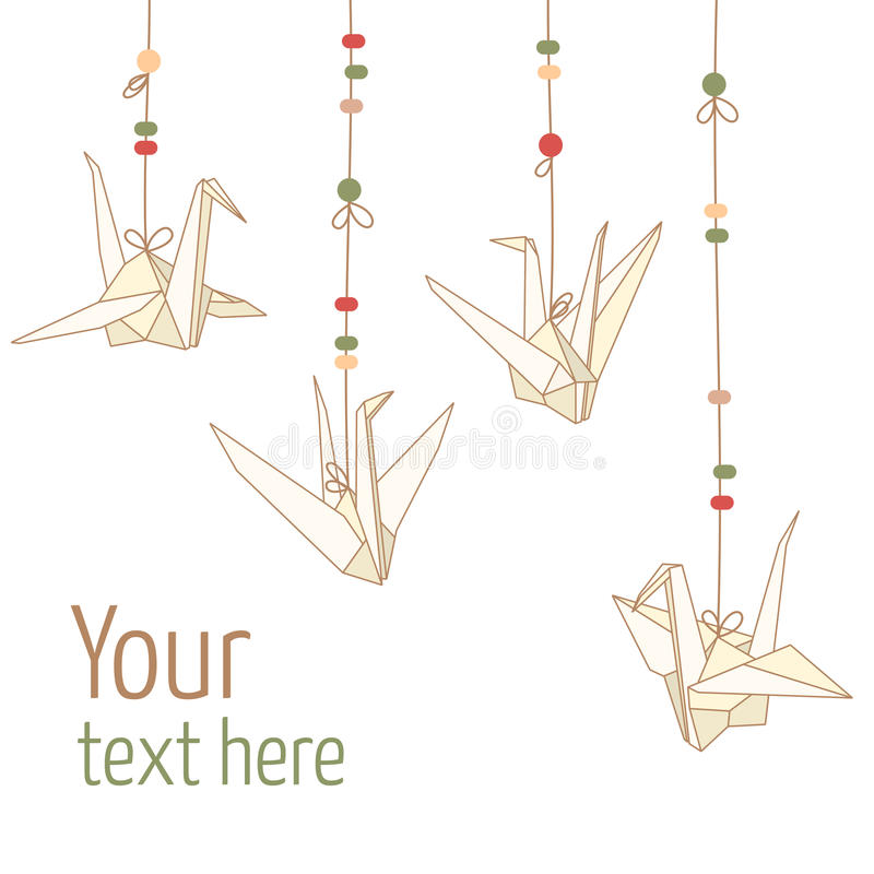 Vector isolated of hanging origami paper cranes. Vector illustration of hanging origami paper cranes isolated on white background royalty free illustration