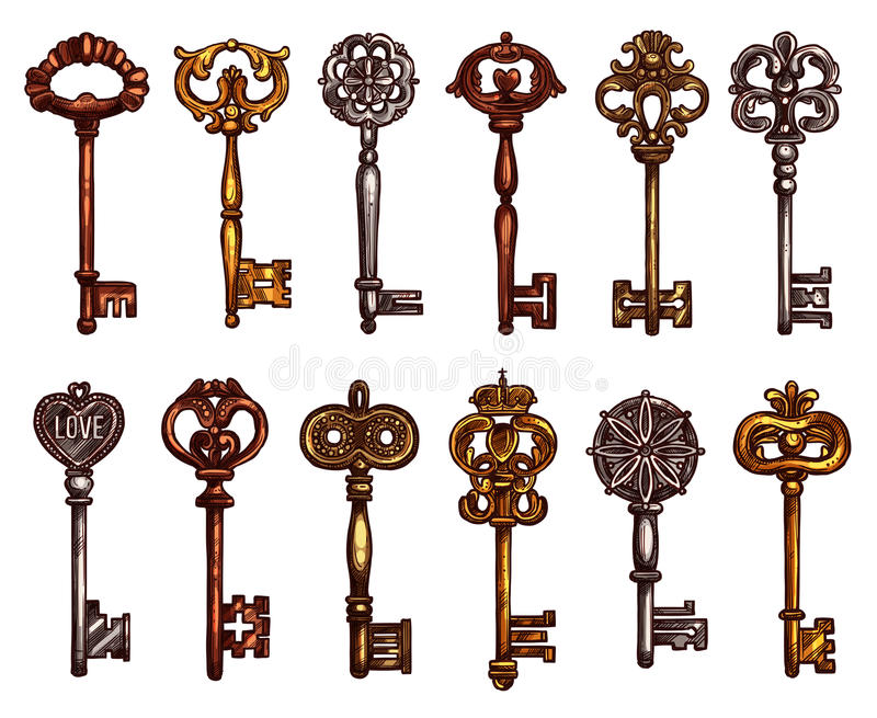 Vector isolated icons sketch of vintage keys royalty free illustration