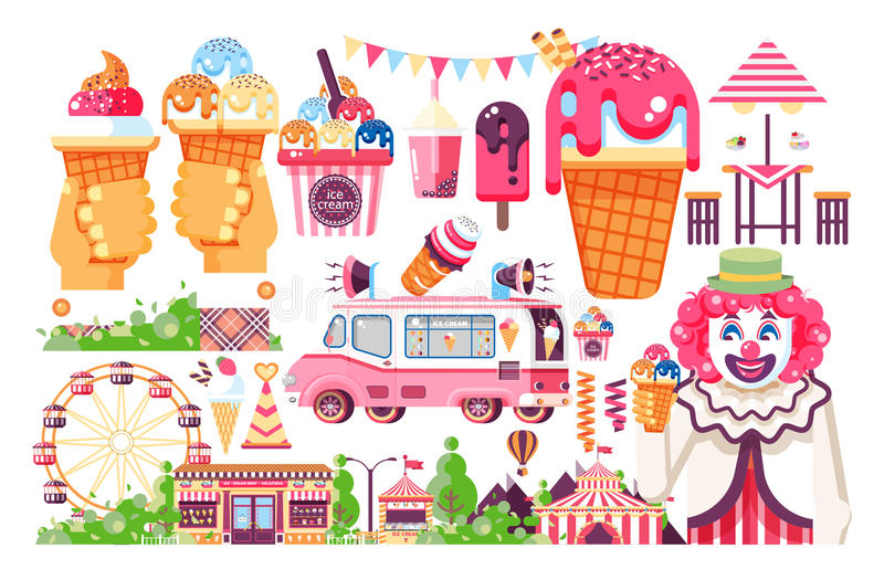 Vector isolated illustration business selling ice cream sale of food with machine, meal on wheels clown amusement park vector illustration
