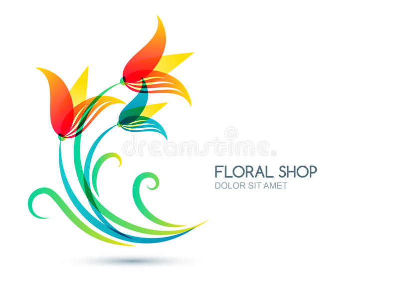 Vector isolated illustration of colorful lily flowers. Logo, label, icon design elements. stock illustration