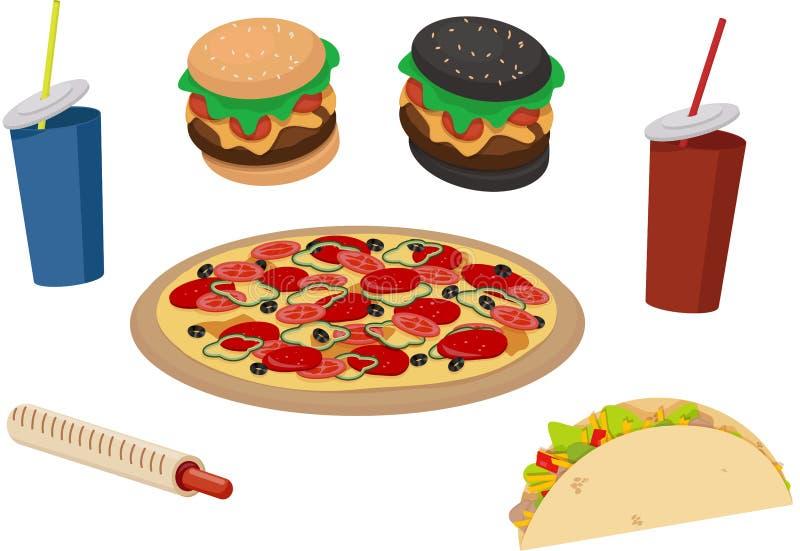 Fast food. Delicious tartilya, pizza, soda, frankfurter sausage, sausage in the dough, burger. stock illustration