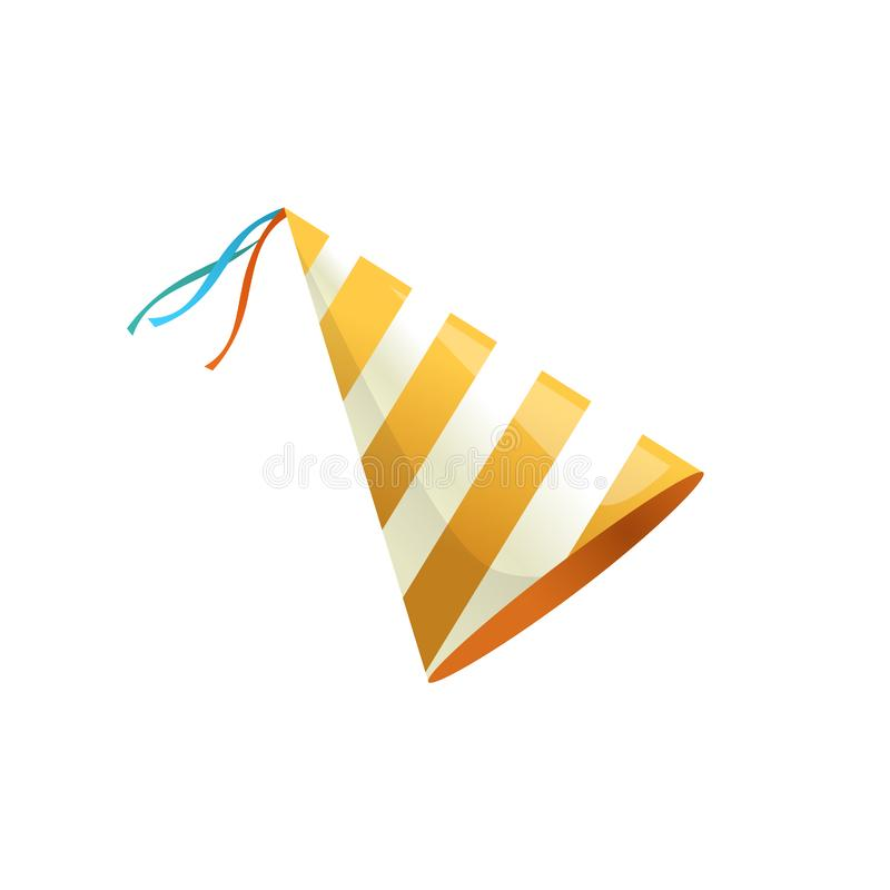 Birthday party hat with stripes. Vector isolated illustration. Vector isolated illustration. Holiday icon. Isometric 3d illustration. Birthday party hat with royalty free illustration