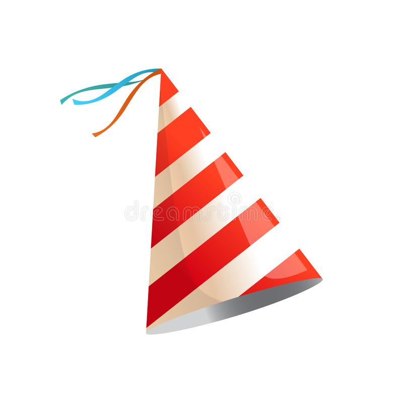 Birthday party hat with stripes. Vector isolated illustration. stock illustration