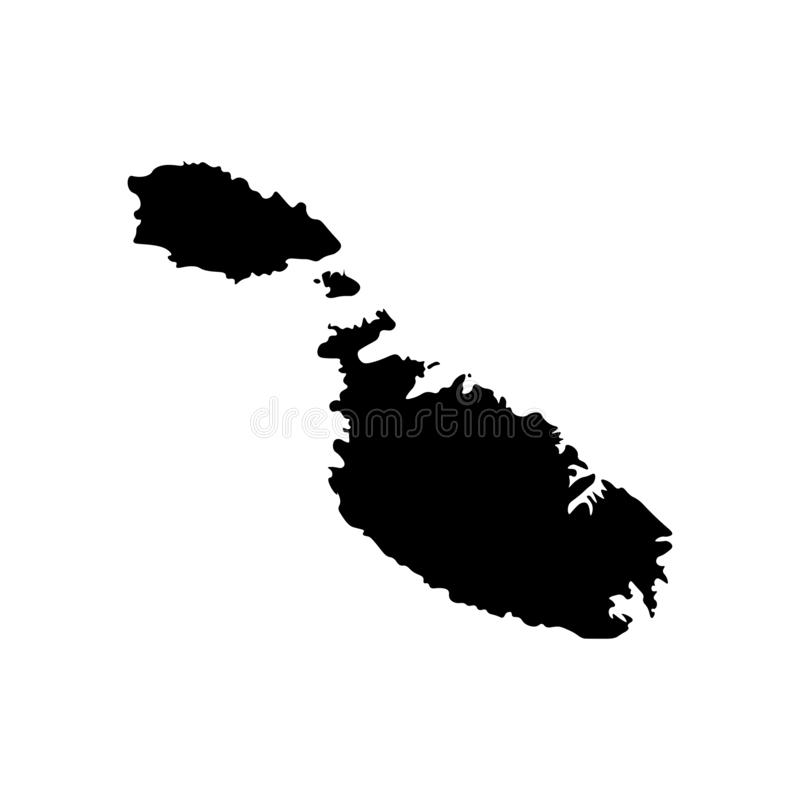 Basic RGB. Vector isolated illustration of political map of South Europe state - Republic of Malta. Black silhouette. White background stock illustration