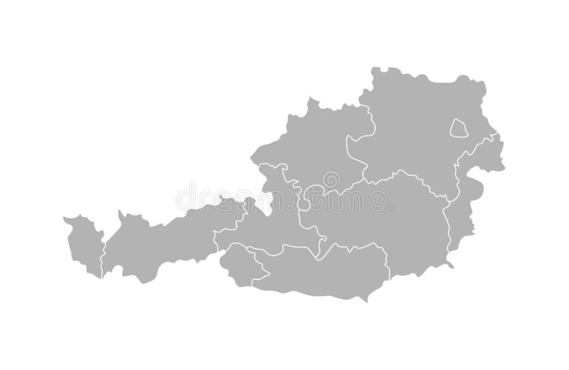 Vector isolated illustration of simplified administrative map of Austria. Borders of the provinces regions. vector illustration