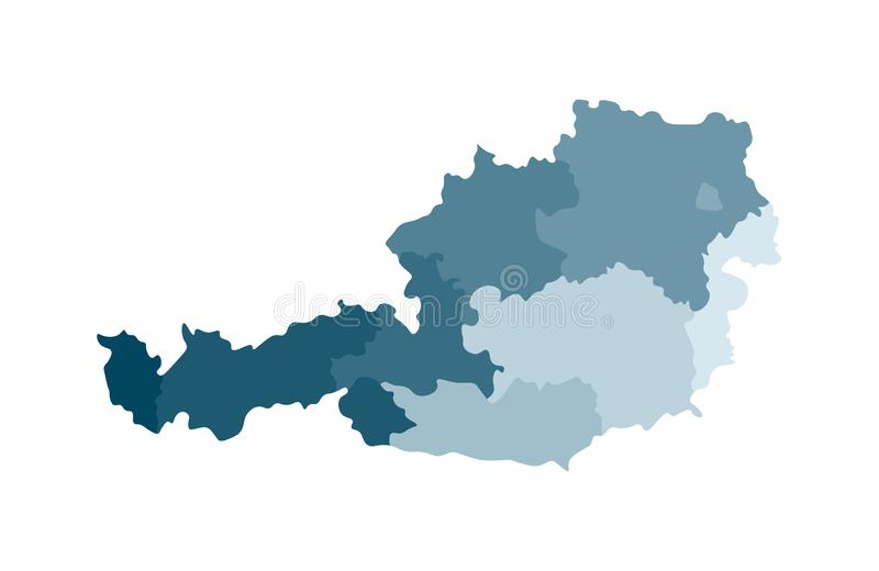 Vector isolated illustration of simplified administrative map of Austria. Borders of the regions. Colorful blue khaki silhouettes stock illustration