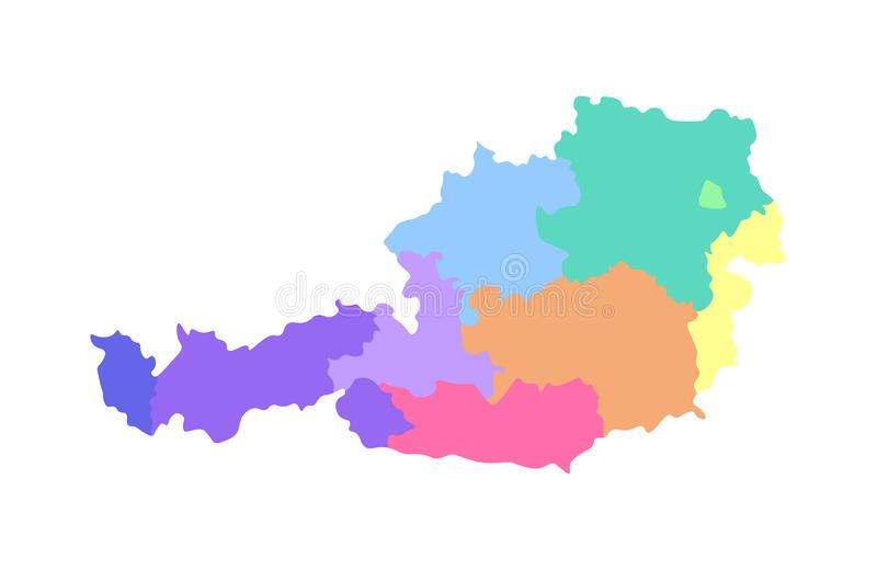 Vector isolated illustration of simplified administrative map of Austria. Borders of the regions. Multi colored silhouettes royalty free illustration